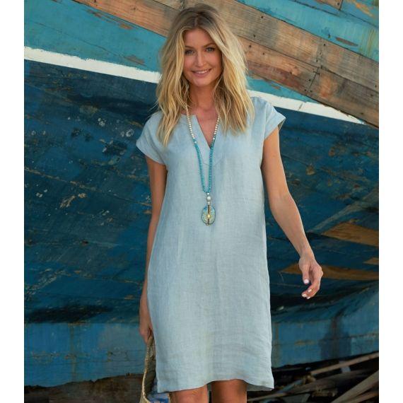 96605600ff2 Dori Linen Dress Light Teal