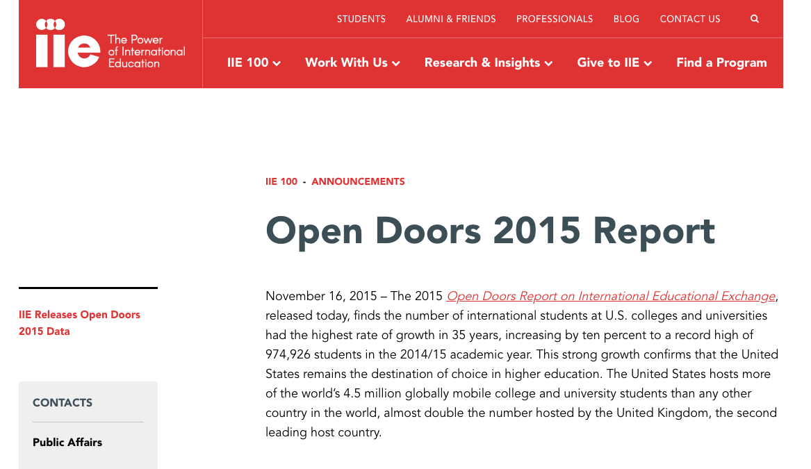 Farrugia C And Bhandari R 2016 Open Doors 2015 Report On International Educational Exchan International Education International Students Student Studying