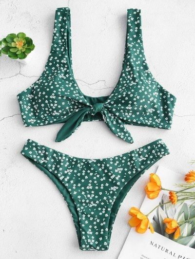 50ff9a4b5 Floral Low Waisted Knot Bikini Set - Medium Sea Green S,swimwear One  Piece,swimwear Bikini,swimwear Modest,swimwear 2019,swimwear Tank… | ! ALL  Bikinis in ...