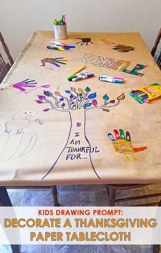 Fun Thanksgiving Tablecloth Idea with Writing and Drawing Prompts #drawingprompts