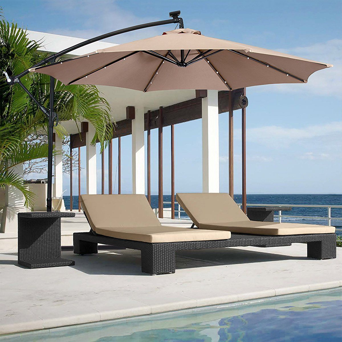 Best Choice Products 10ft Solar Led Patio Offset Umbrella W Easy Tilt Adjustment Tan Best Patio Umbrella Offset Patio Umbrella Patio Umbrellas