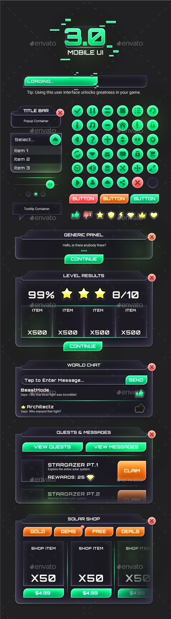 Mobile Game UI Assets 3 User Interfaces Game Assets
