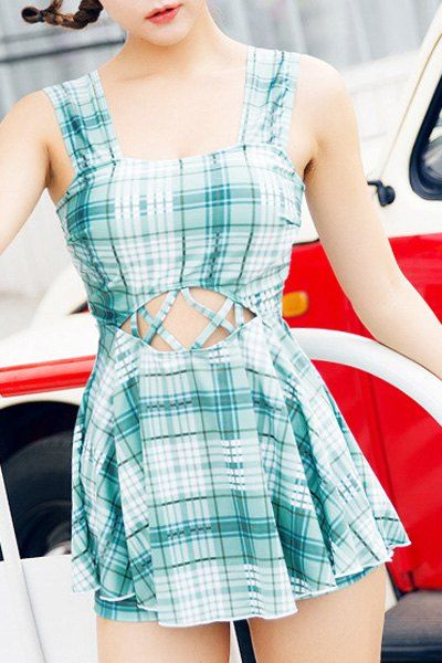 Fresh Style Square Neck Plaid Criss-Cross One-Piece Bathing Suit For Women