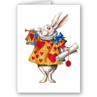 Alice In wonderland Picture Greeting Card Christmas White Rabbit