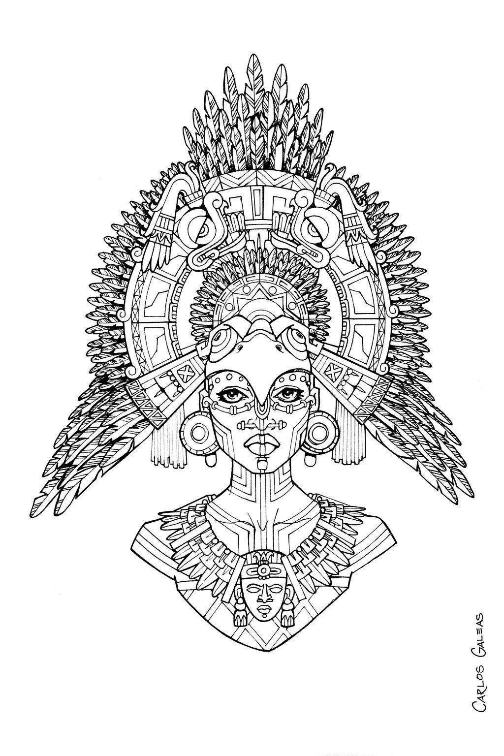 Mayan Queen  Mayan art, Maya art, Flower art drawing