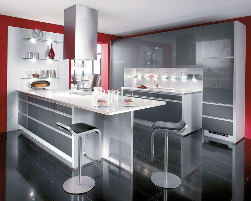 Cuisine design une touche de rouge c 39 est vivifiant id es d co cuisines blanche cuisine - Decoration cuisine moderne rouge et blanc ...