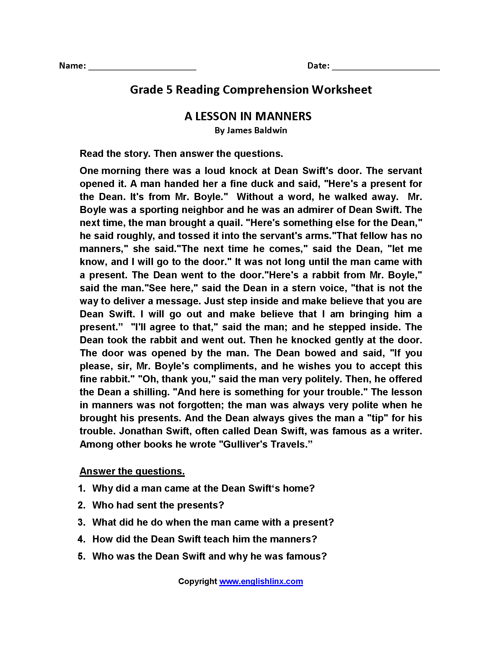 Lesson in Manners Fifth Grade Reading Worksheets   Reading comprehension  worksheets [ 2200 x 1700 Pixel ]