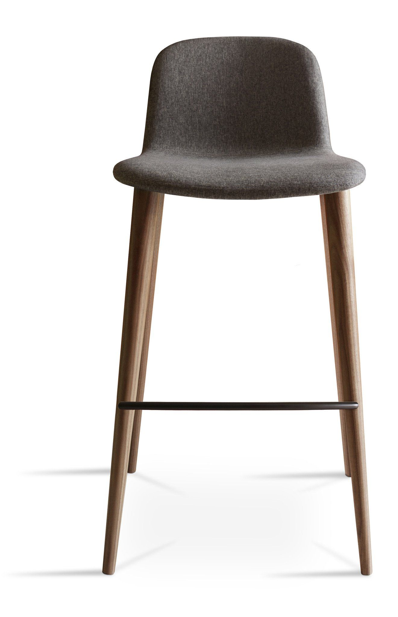 "Design by Omar De Biaggio  3d plywood shell Curved-back Wood legs Footrest 12 x faux leather standard choices Contract Quality faux, fire retardant to BS7176 Crib 5 Many other fabrics are available. If you would like an alternative fabric, then please select ""Alternative Fabric"" from the drop down menus and we will contact you on placing your order We reserve the right to charge an Additional amount for an alternative fabric Seat Height 770mm Width 520mm Depth 500mm Counter Seat Height 660mm…"