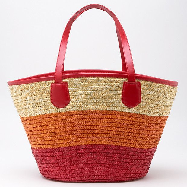 Colour Block Straw Basket - Natural, Orange + Red