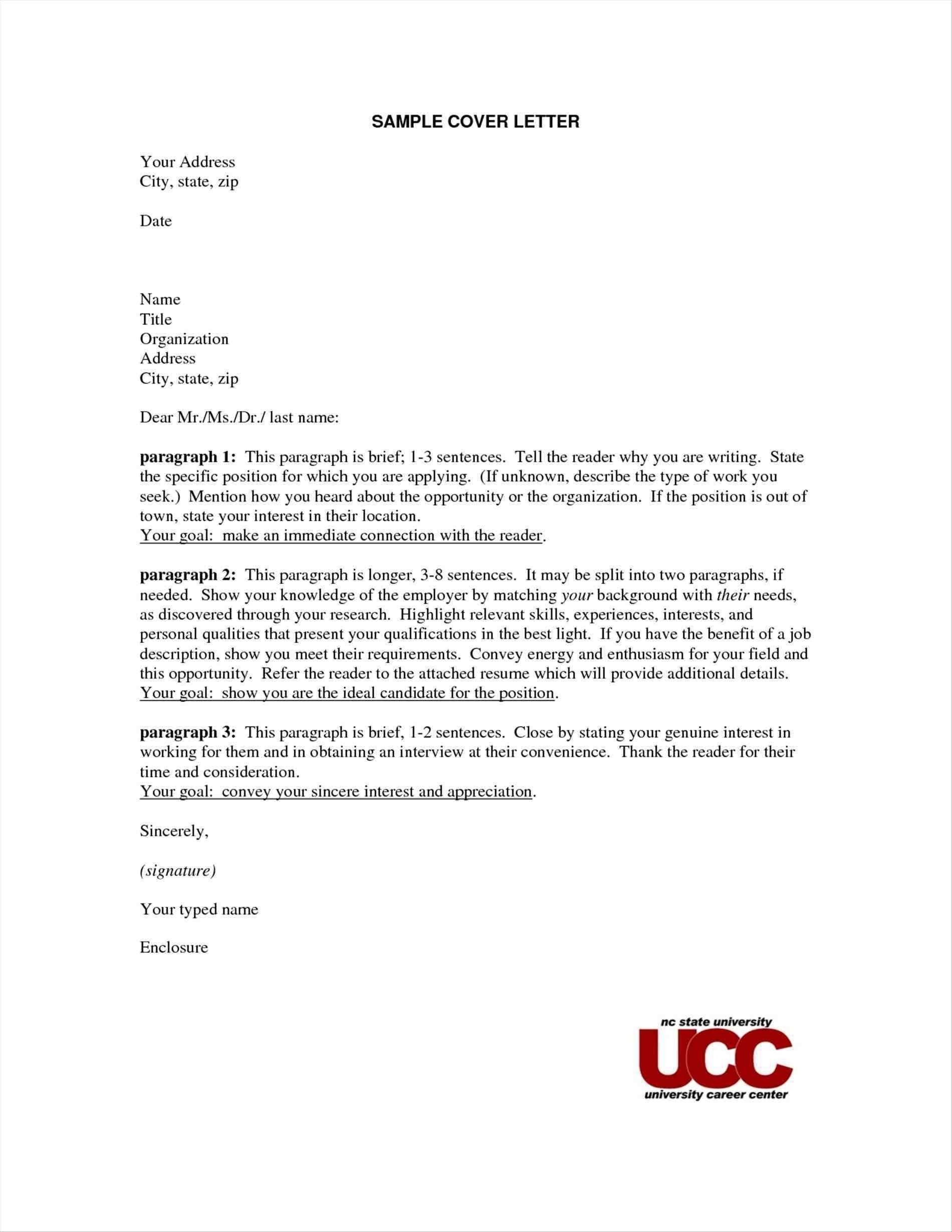 Sample Cover Letter Name