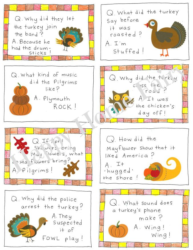 Thanksgiving Lunch Box Joke Cards FREE Printable