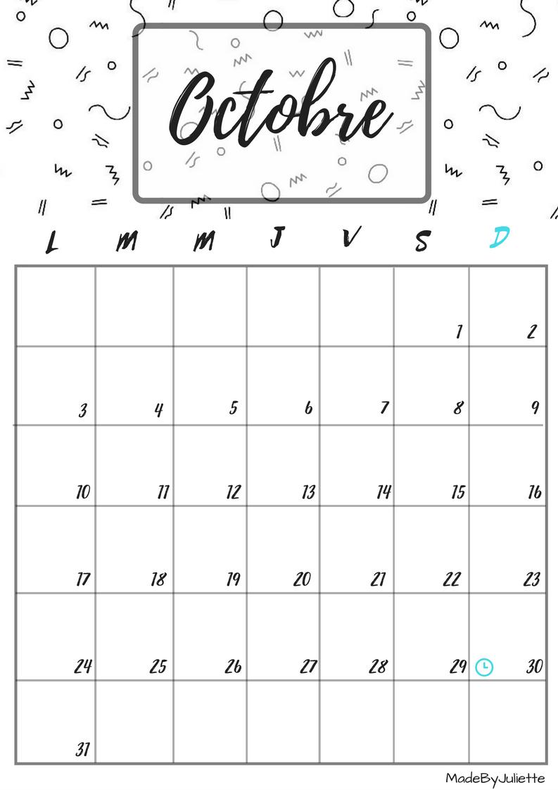 Calendrier octobre 2016 imprimes le calendrier pour for Planning mural 2017