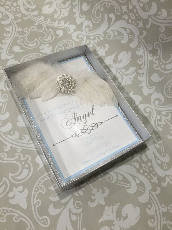 Angel wing invitation angel baby shower invitation Silver box