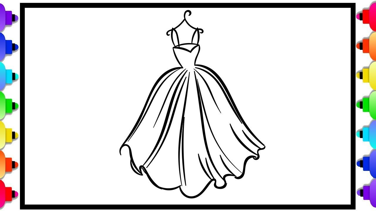 Learn How To Draw Beautiful Dresses Fashion Coloring Pages For Kids Coloring Pages For Kids Coloring Pages Easy Coloring Pages