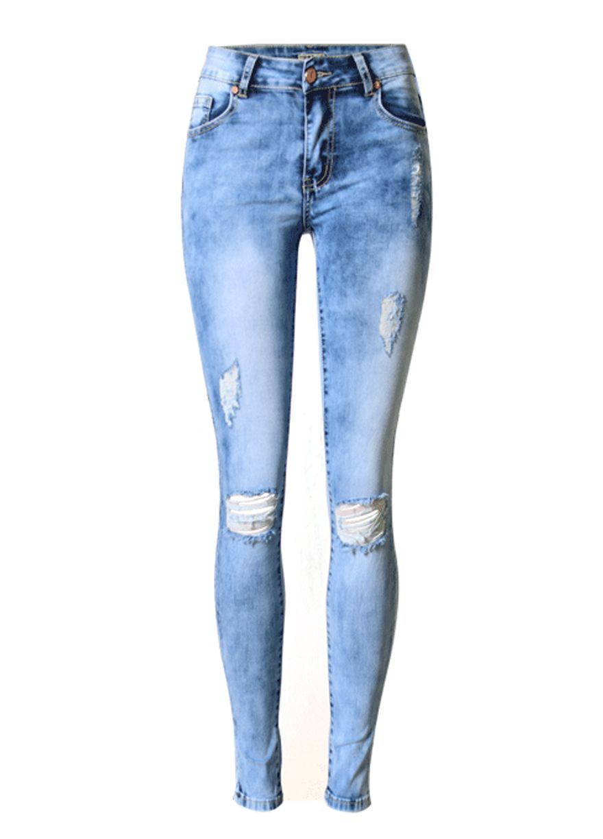 e93fb3336c1 Ripped Cut-Out Knees Wash Denim Skinny Jeans Butt Lifting Skinny  Jeans Women Jeans Sexy Lingeire