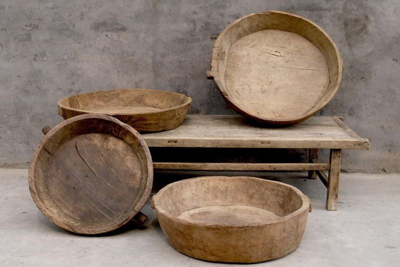 VARIOUS ORIGINAL WOOD TRAY CARVED FROM SINGLE PIECE WOOD ORIGIN: GANSU