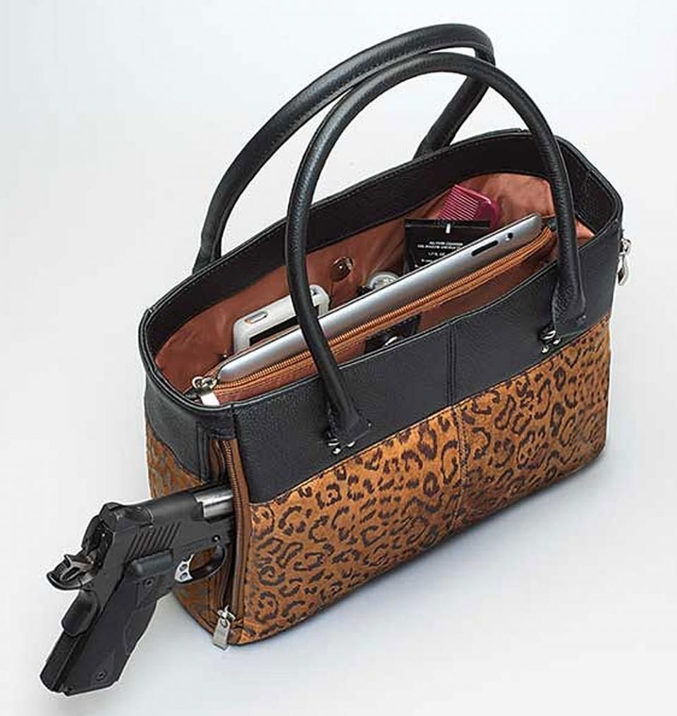 9f207d95034 Concealed Carry Purse - Traditional Open Top Tote Debossed Sueded ...