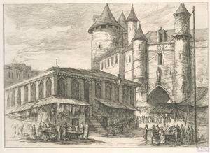 Le Grand Châtelet à Paris, vers 1780.