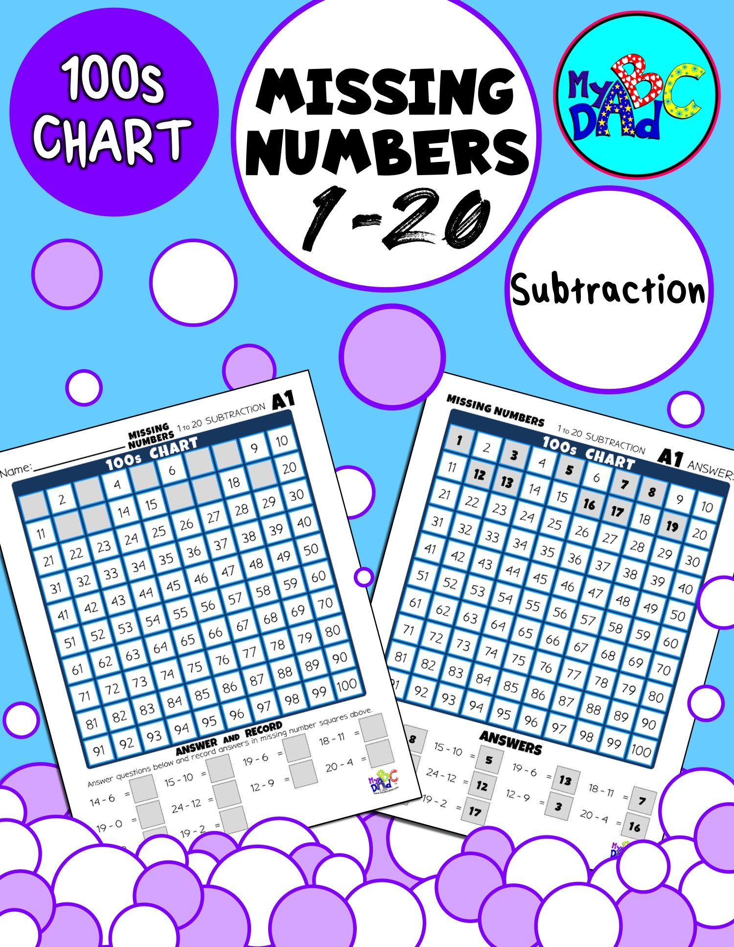 Missing Numbers 1 To 20 Subtraction Activities In