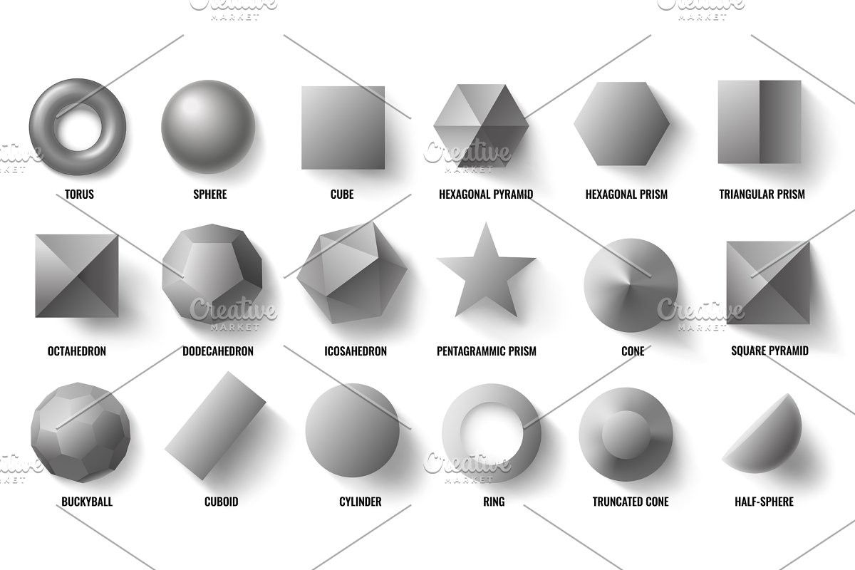 Basic 3d Shapes Top View Realistic
