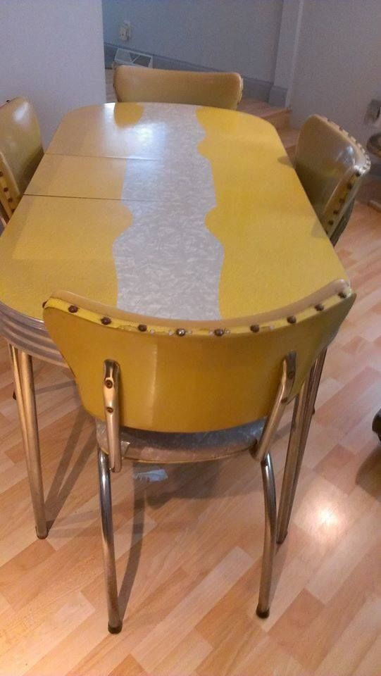 rectangular glass chrome dining table kitchen base nearly grandmother vintage retro cracked ice dinette chairs yellow and
