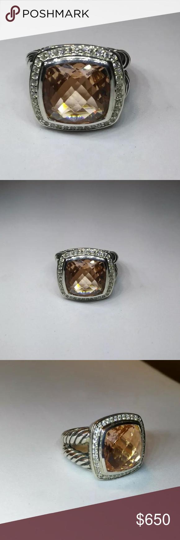 diamond david yurman 14mm albion morganite ring size 6 david yurman sterling silver