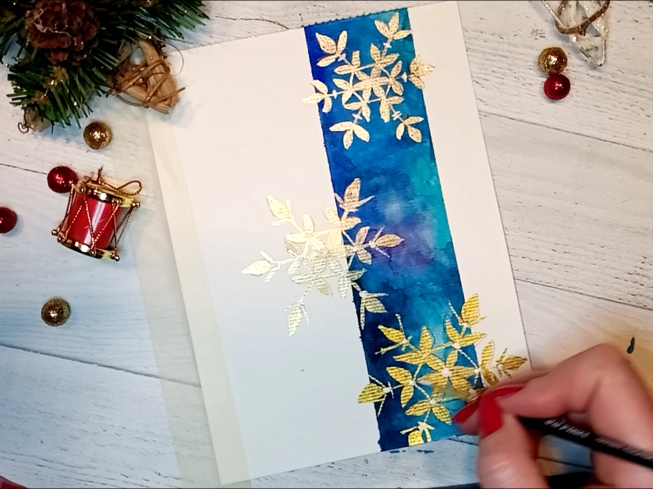 Watercolour Christmas card tutorial for beginner ★