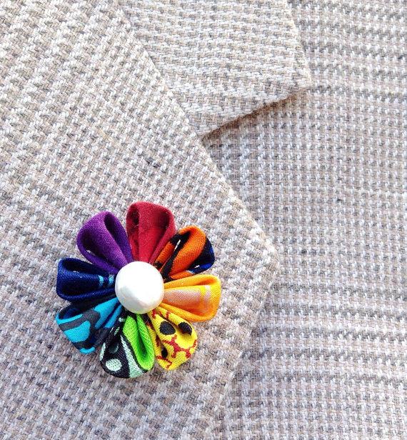 Rainbow Lapel Flower Lapel Pins Mens Lapel Pin Flower Lapel