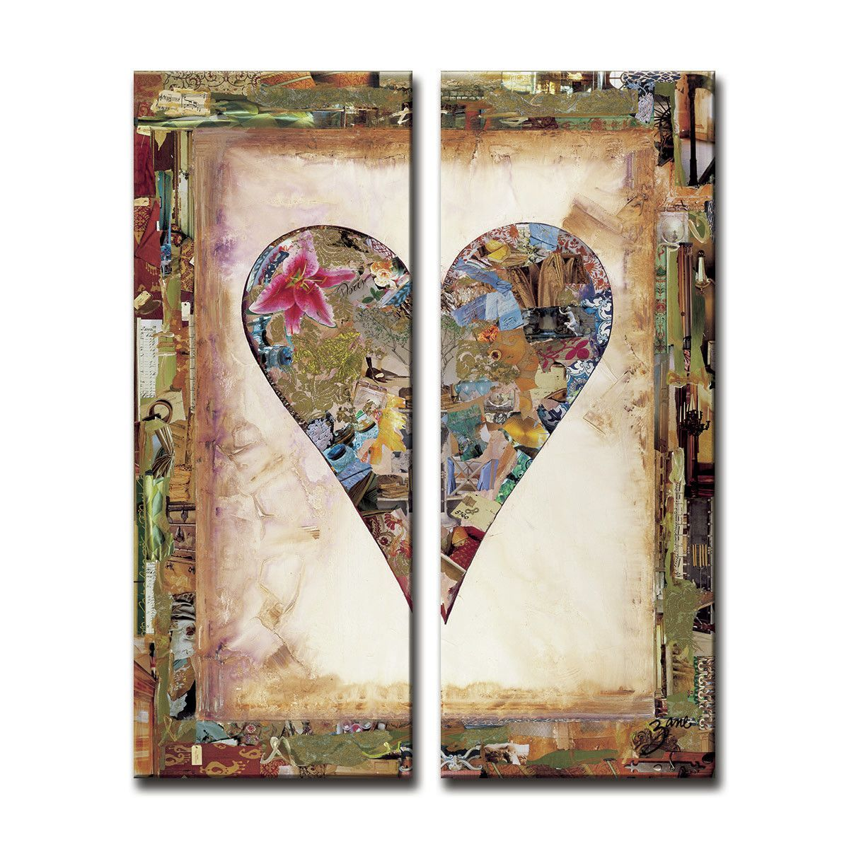 Zane Heartwork Nature Heart 2 Piece Painting On Canvas Set