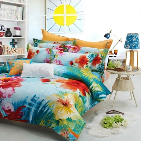 Teal Blue Red And Yellow Abstract Tropical Fl Unusual 100 Cotton Satin Full Queen Size Bedding Sets
