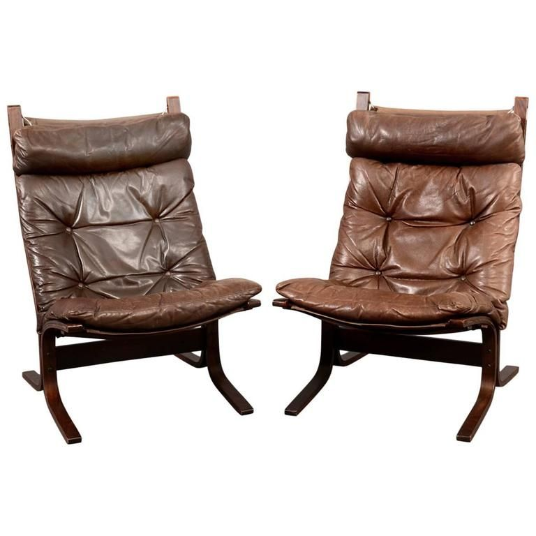 Pair Of Siesta Scandinavian Lounge Chairs By Ingmar Relling 1 Lounge Chair Brown Leather Chairs Small Leather Chairs