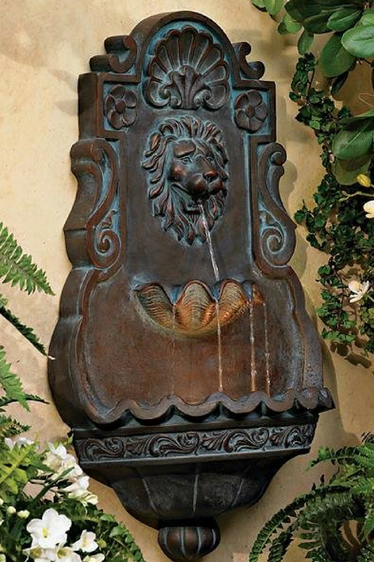 Lion Head Bronze 31 1 2 High Indoor Outdoor Fountain This Lighted Tiered Wall Fountain Featuring A Lion S Head Is Ma Wall Fountain Garden Art Water Fountain Wall mounted water fountains outdoor