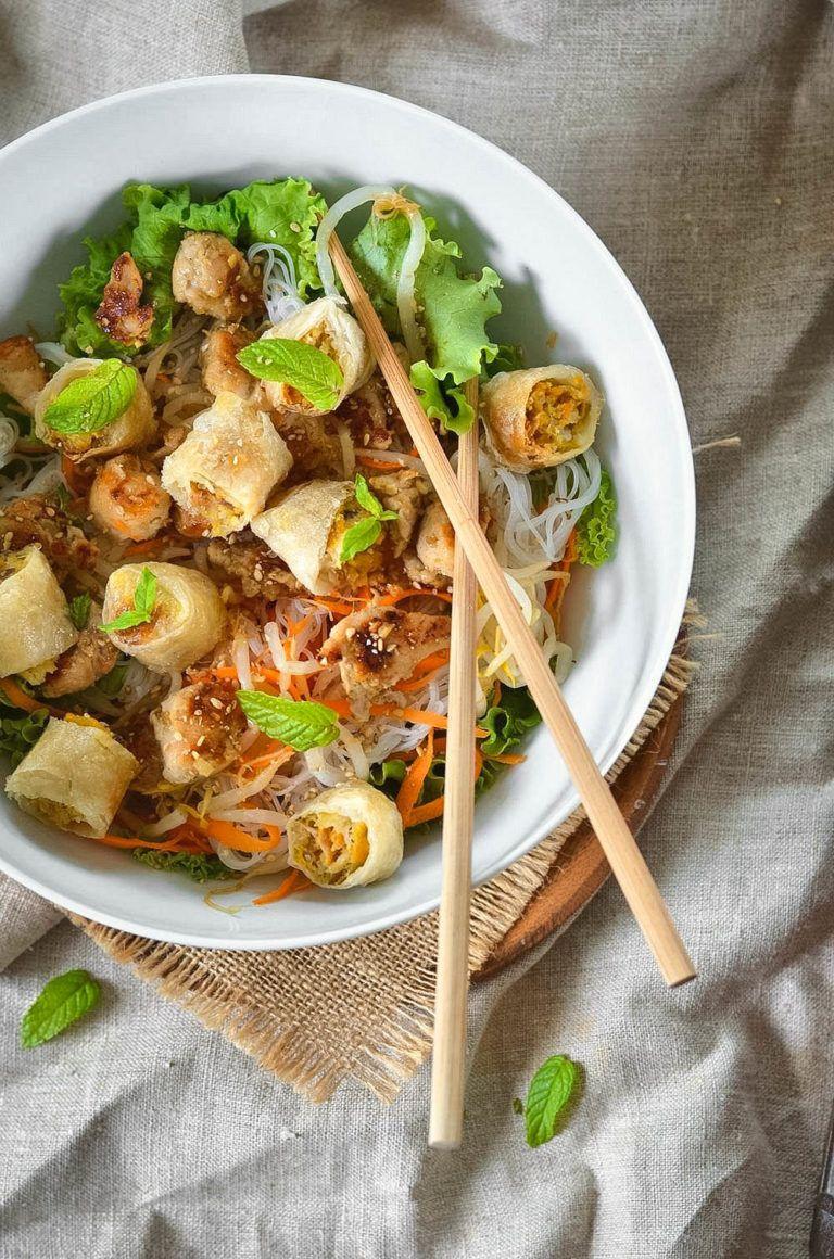 Bo bun au poulet {salade asiatique} - Recette facile - Tangerine Zest