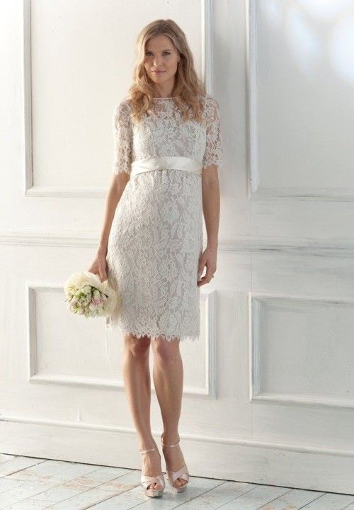Short Lace Wedding Dress With Sleeves Vintage Inspired