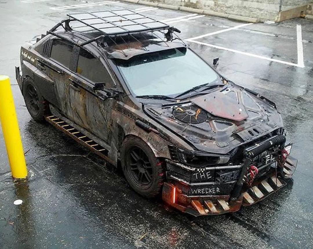 Probably My Favorite Postapocalyptic Modern Car Build The Wreckedlancer Postapocvehicles Madmax Mitsubishi La Racing Car Model Car Guys Bug Out Vehicle
