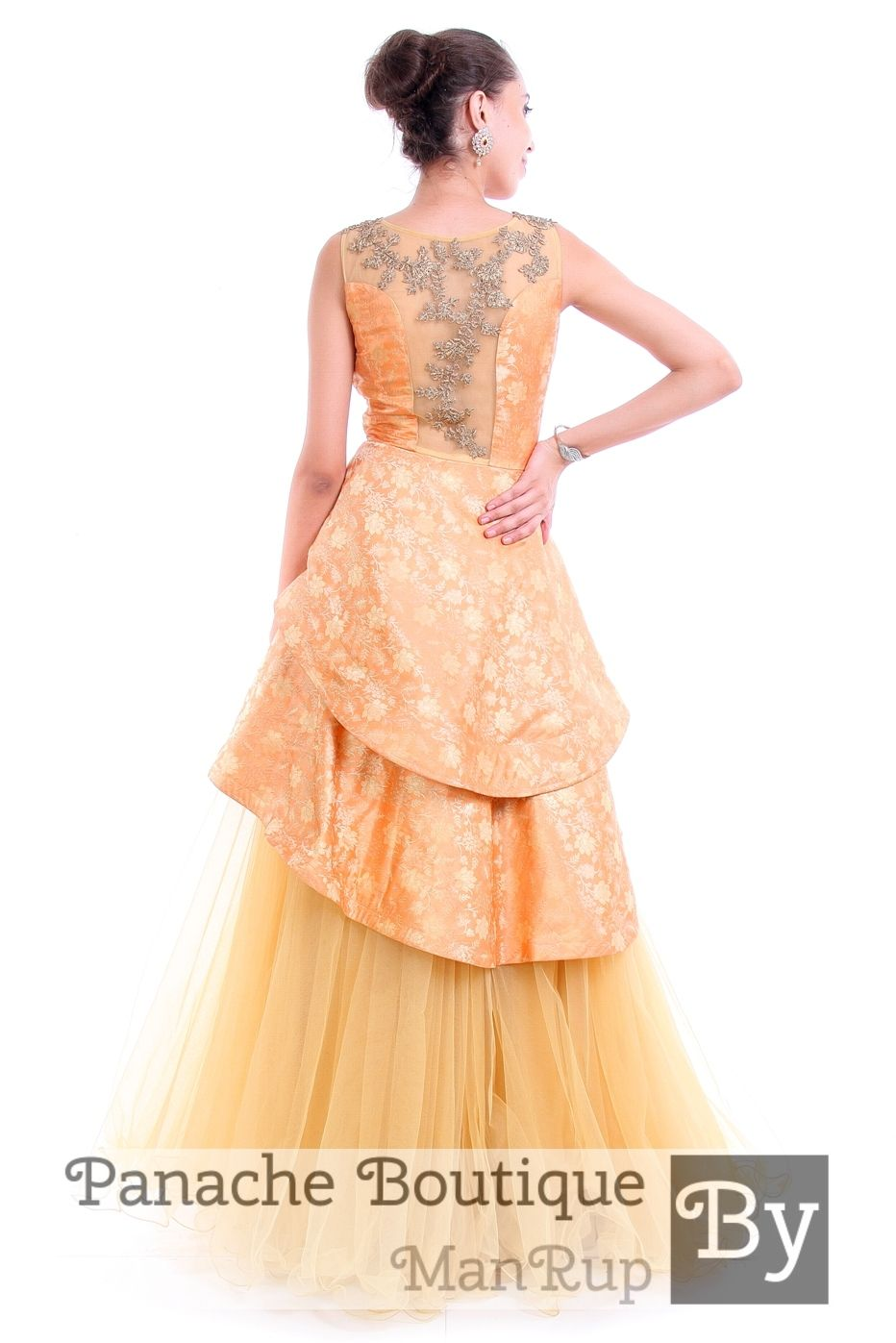 56ac174442 Peach Colour Layered Gown in Brocade by Panache Haute Couture. Contact us  to order or customisation through WhatsApp +61470219564 or mail to ...