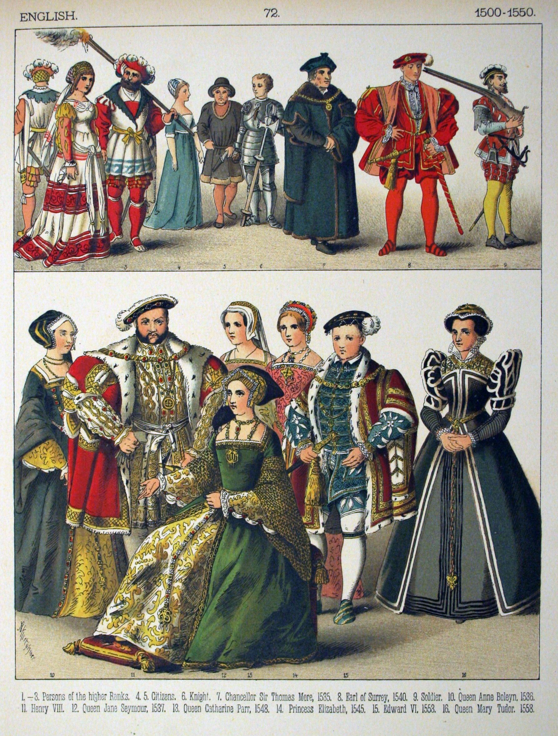 "Renaissance/Tudor: 1500-1550, English: Henry VIII, his wives and children  (except wife #1 Catherine of Aragon). ""Costumes of All Nations"" (1882) by  Albert ..."