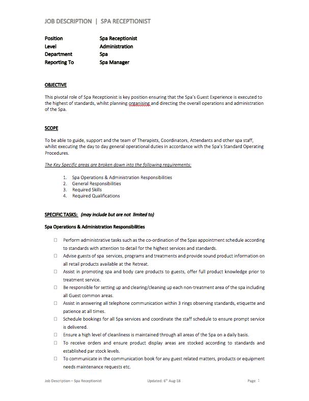 Spa Receptionist Job Description