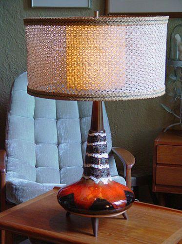 details about retro lamp vintage mid century modern ceramic table rh pinterest com