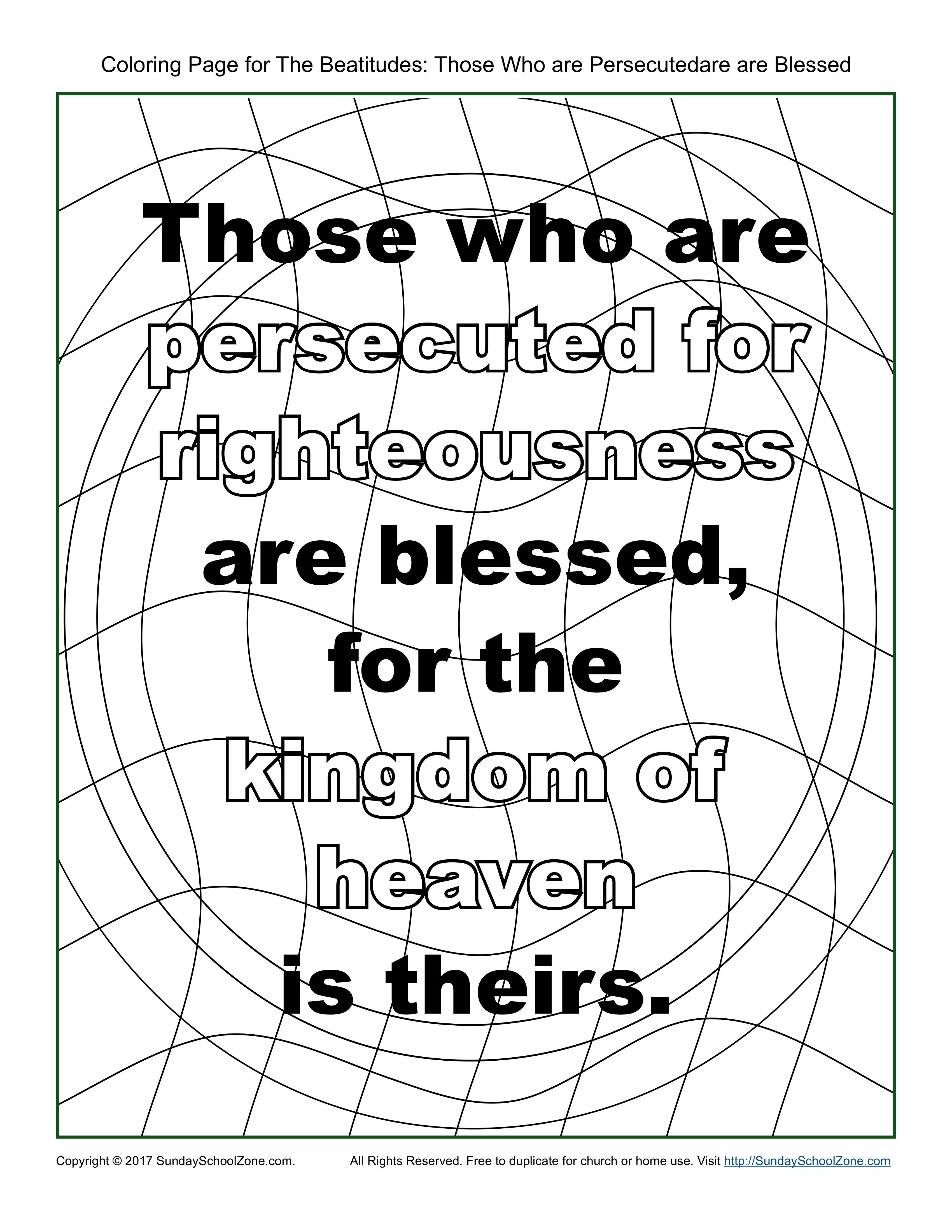 Those Who Are Persecuted Beatitudes Coloring Page Beatitudes