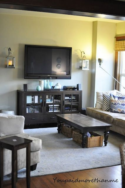 What To Put Under Wall Mounted Tv Install Lanterns On The Also Like Bins Coffee Table