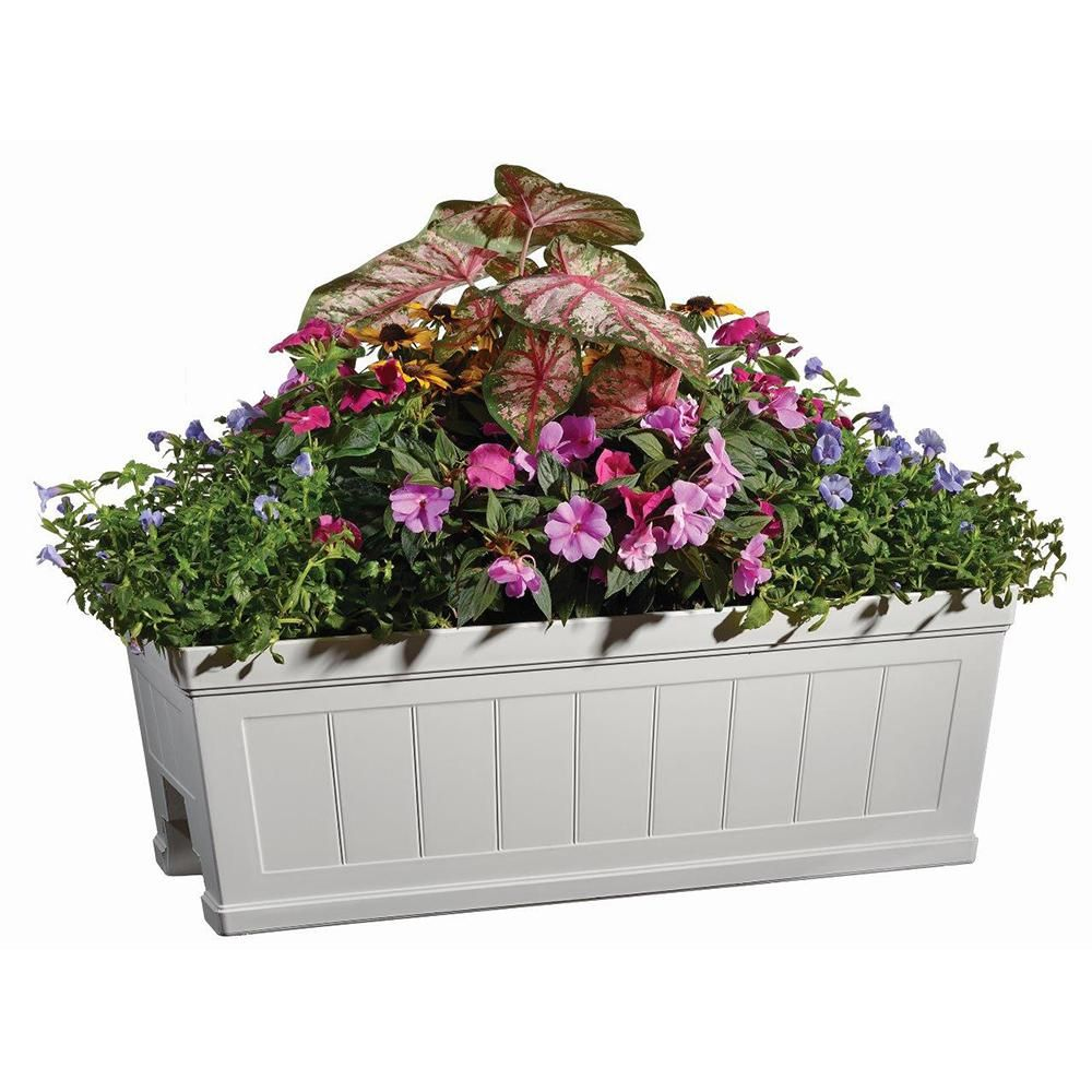 Hanover 27 In White Resin Beadboard Deck Rail Planter Hd1116 089 The Home Depot Deck Railing Planters Deck Railings Railing Planter Boxes