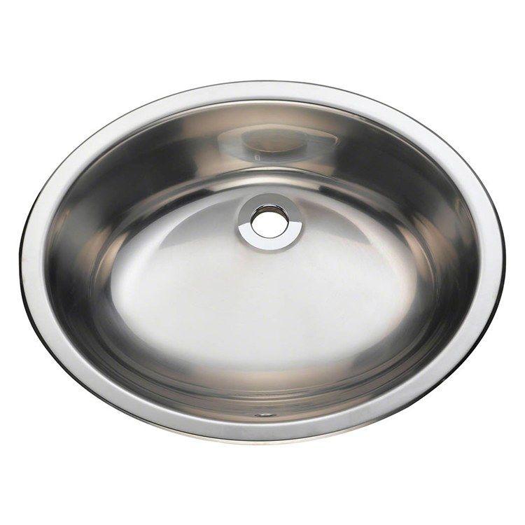 19 1 4 Oval Single Bowl Stainless Steel Bathroom Sink Vanity