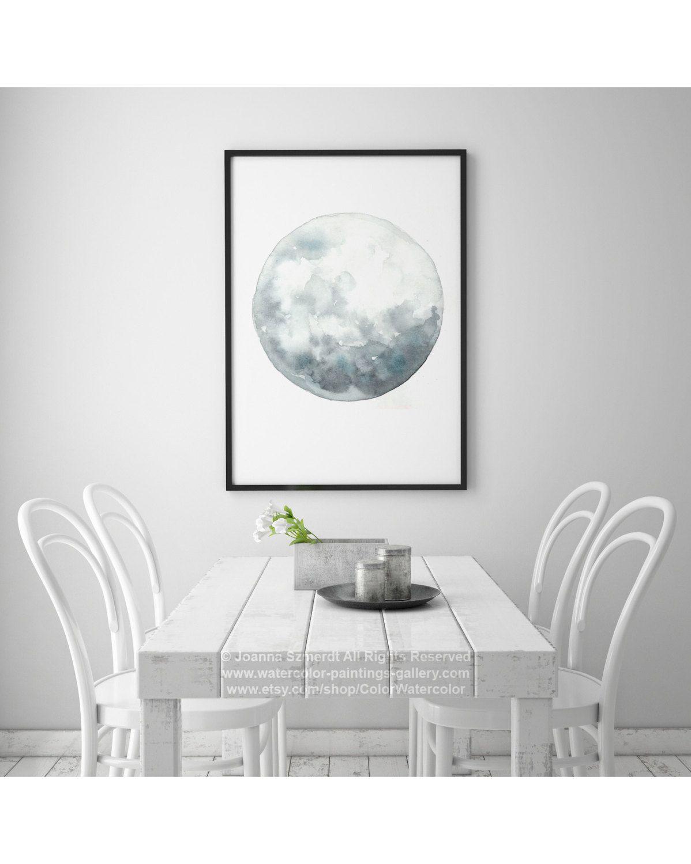 Full moon art luna watercolor painting blue wall decor gray blue