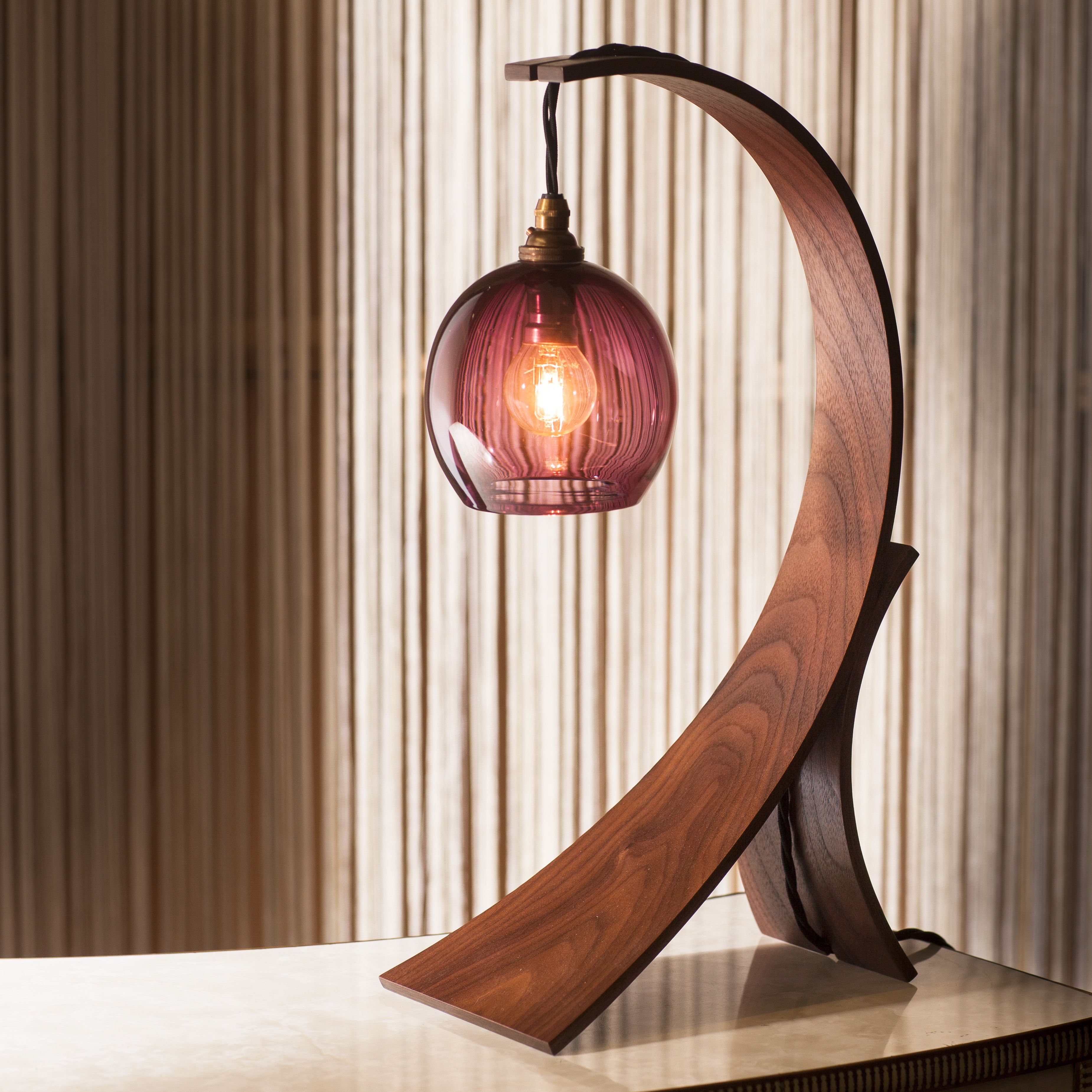 Contemporary Walnut Crescent Table Lamp With Hand Blow Pendant Table Lamp Wood Table Lamp Design Wooden Light