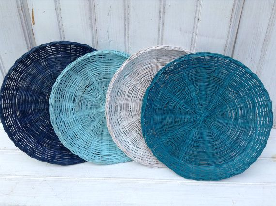 Wicker Paper Plate Holders Four Picnic Colorful Painted