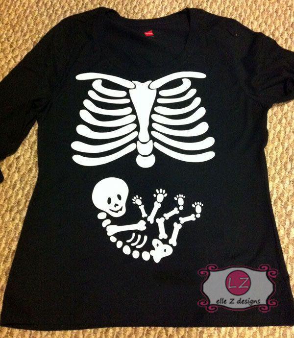d9be5433cf078 Iron on for DIY Pregnant Skeleton Maternity Shirt. $15.00, via Etsy.  Pregnancy Shirts