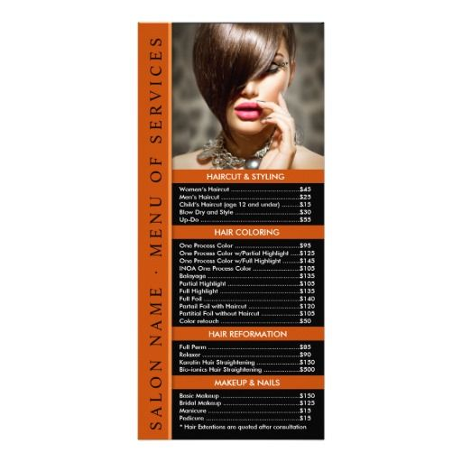 Hair Or Nail Salon Rack Card Template Service Menu  Spa And Salon