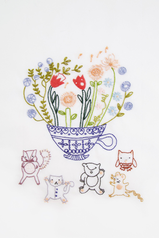 Flower tea cup pattern | Embroidery | Pinterest | Bordado, Floral ...
