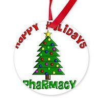 CafePress Happy holidays Pharmacy Round Ornament